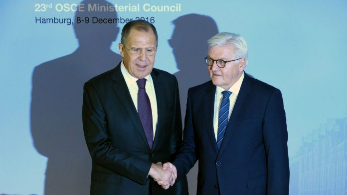 Frank-Walter Steinmeier welcomes Sergey Lavrov at the 23rd OSCE Ministerial Council in Germany. Hamburg, December 2016. (Credit: Golden Brown/Bigstock)